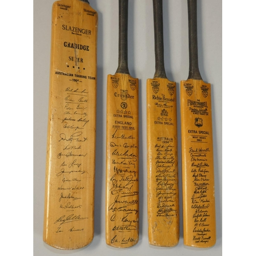 34 - Four miniature signed cricket bats, to include Extra Special England First Test 1953, West Indies 19...