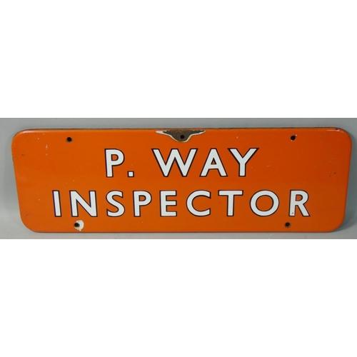 249 - A enamel B.R. N.E. 'P. Way Inspectors' door sign, 15 x 46 cm....