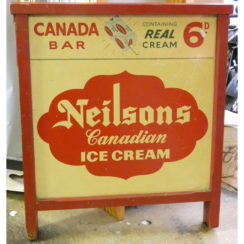 29 - A double sided free standing advertising sign, 'Neilsons Canadian Ice Cream', 76 x 70cm....