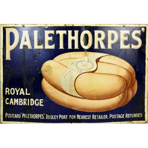 A vintage enamel single sided wall mounted sign for Palethorpes Royal Cambridge Sausage, 61 x 92cm.