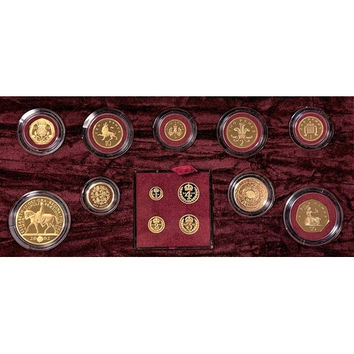 "A limited edition proof gold 2002 Royal Mint ""Golden Jubilee"" 13 coin set, including a Maundy set, combined weight 148g, booklet, case"