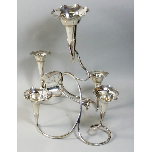 An Edwardian silver epergne by Cropp & Farr Birmingham 1907, composed of five flower vases in a wirework frame, weight 16oz, height 29cm