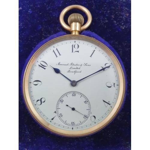 101 - An 18ct gold keyless wind open face pocket watch, by Menroah Rhodes & Sons, Bradford, London 1915, t...