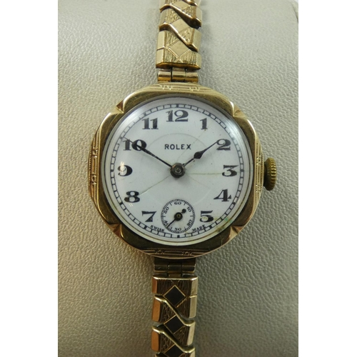 102 - Rolex, a 9ct gold ladies manual wind wristwatch, Glasgow 1929, the white dial with subsidiary second...