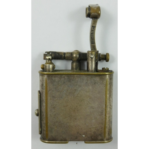 93 - Dunhill, a silver plated lifting arm pipe/cigarette lighter, pat no 390107, with slide to the side r...