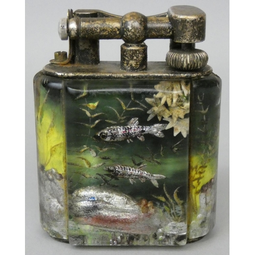 95 - Ben Shillingford for Alfred Dunhill, a service size aquarium lighter, circa 1950s, reverse etched an...
