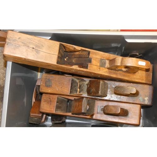 32 - Eleven vintage wood block hand planes, some named...