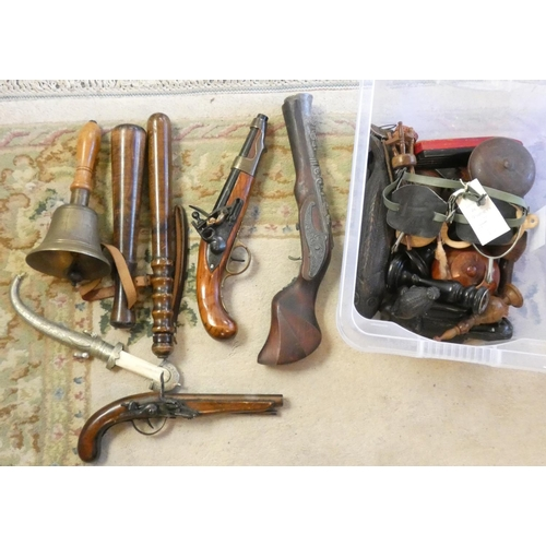 49 - A collection of imitation pistols and two truncheons...
