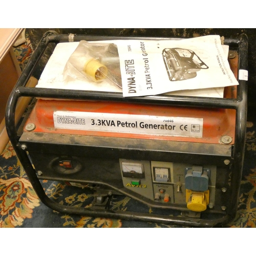5 - A Dyna-Bite 3.3KVA petrol generator model 70846, believed unused, with instruction manual...