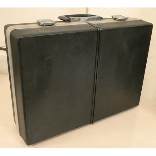 15 - A Sanyo portable solid state stereo music centre, model G-2615N in fold up attach case...