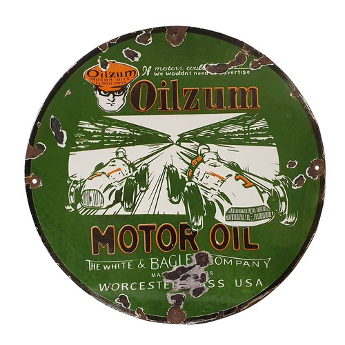 25 - A circular vitreous enamel single sided sign, Oilzum, Motor Oil, green and orange pictorial with two...