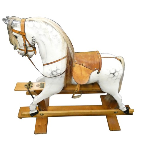 501 - A Yorkshire Wooden Horse Company dapple grey rocking horse, born Christmas 1989, with real horse hai...