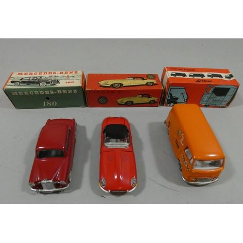 83 - Tekno, Jaguar E type, model 927, Mercedes Benz 180, model 723 and Taunus Transit , model 415, all bo...