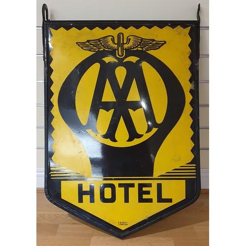 136 - A vitreous enamel double sided, bracket hung AA Hotel sign, 80 x 56 cm.
