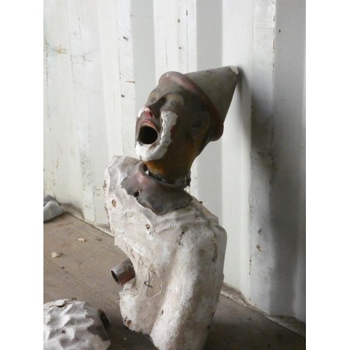 397 - A Victorian fairground ball game, with plaster clown head and torso, in need of restoration, head 30...