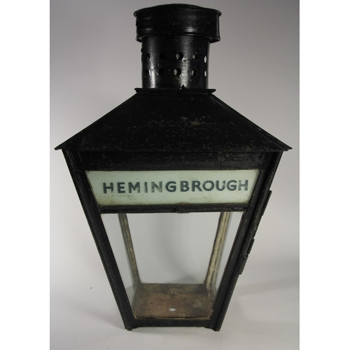 173 - A station platform lamp from Hemingbrough, North Yorkshire, complete with original name glass, stati...