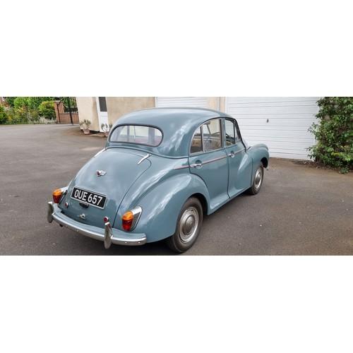 505 - 1954 Morris Minor, 1098cc. Registration number OUE 657. Chassis number FAJ-11/244273. Engine number ...