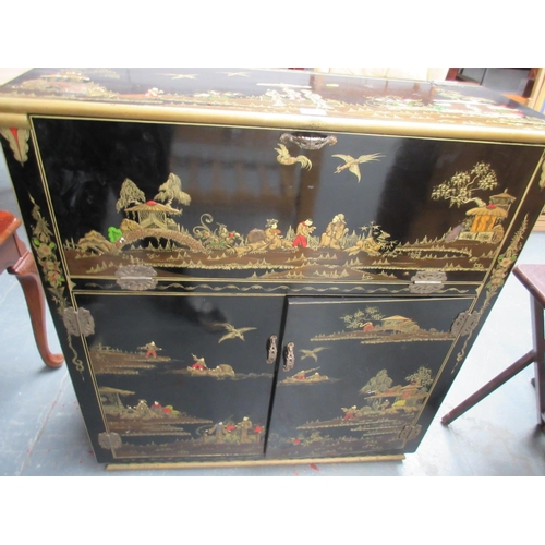 262 - Oriental Style Lacquered Cocktail Cabinet...