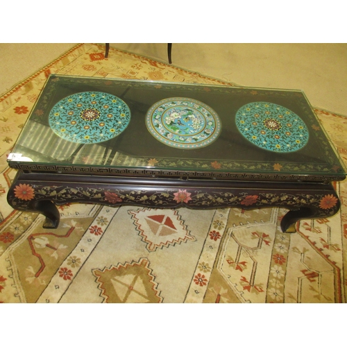 607 - Oriental Hand Painted Glass Topped Opium Table with Three Cloisonne Inserts...