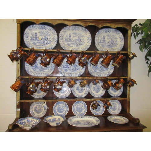 615 - A Large Collection of Blue & White Willow Pattern Meat Platter and Plates some Colandine...