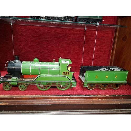 317 - Live steam - 3 inch gauge - steam locomotive and tender - unknown maker - good condition...