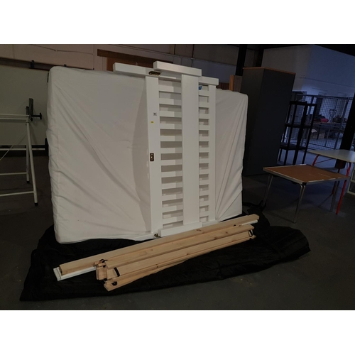 811 - Double white pine bed and mattress...