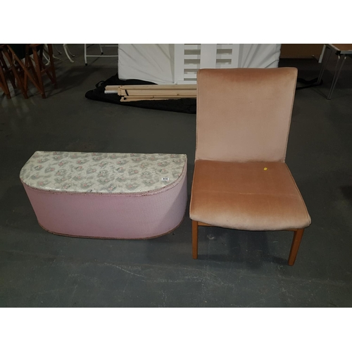 814 - Loom style ottoman and pink covered chair...