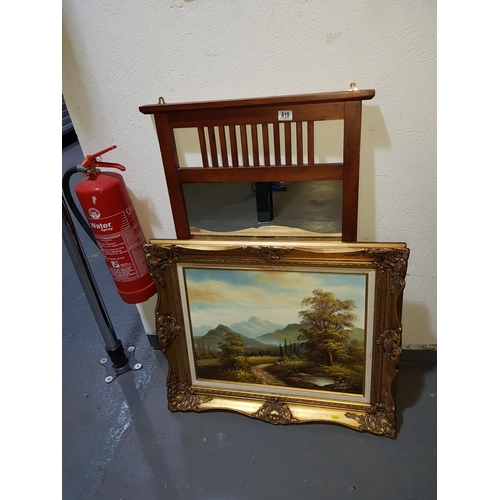 819 - Gilt framed oil painting and mirror...