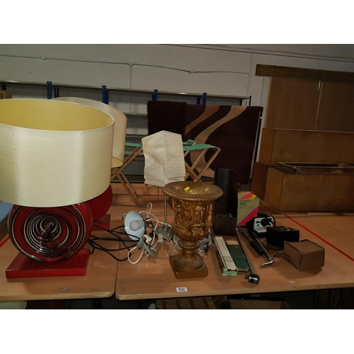 832 - Miscellaneous collection of items including lamps,cameras etc....