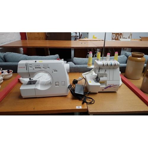 28 - Singer sewing machine and Toyota overlocker...