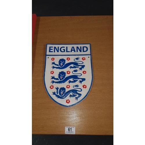 61 - Cast iron sign ' England'...