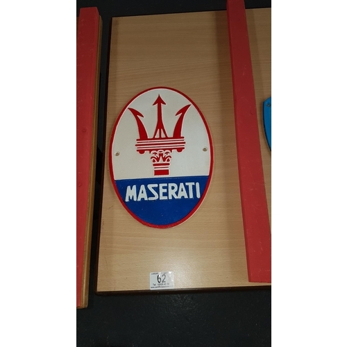 62 - Cast iron sign ' Maserati'...