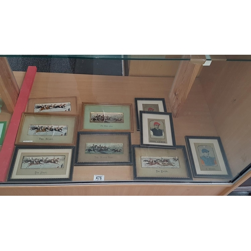 476 - Eight framed Stevengraphs and one unframed -3 ' The Start' - 2 ' The Waterjump' - 1 ' The Finish' - ...