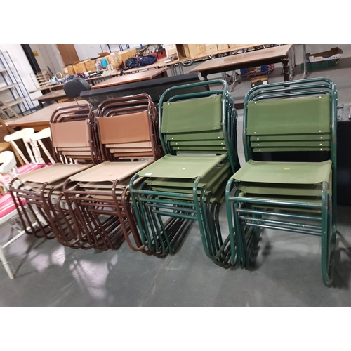 915 - 19 x brown stacking chairs and 19 x green stacking chairs...
