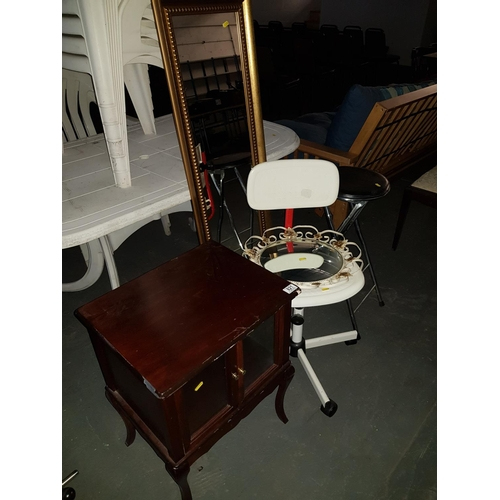 821 - Glazed small cabinet , folding chair etc....