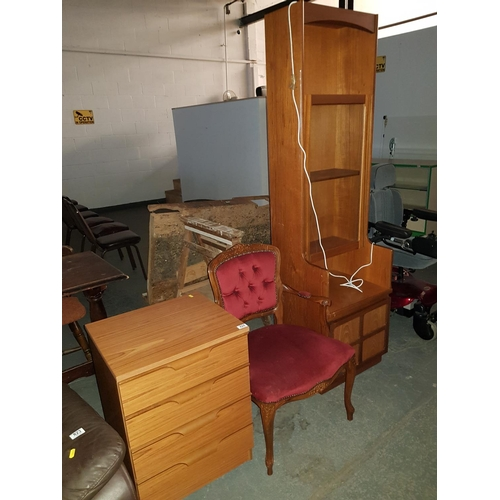 824 - Nathan corner unit , three draw bedside cabinet and an upholstered chair...