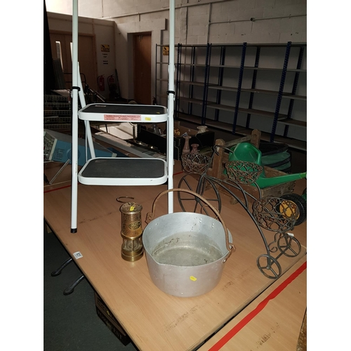 831 - Step ladder, jam pan, miners lamp and garden ornaments...