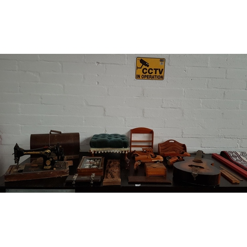 1 - Collection of treen and vintage items including Singer sewing machine , footstool, guitar etc....