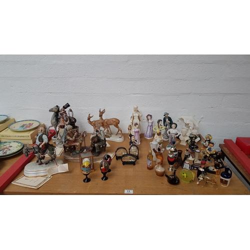 11 - Capodimonte figurines , liquer bottles etc....