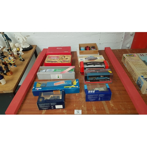 12 - Selection of collectable cars and buses...