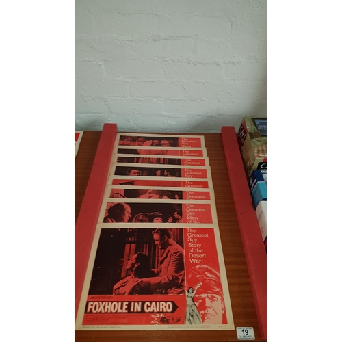 19 - 8 x Cinema lobby cards, Foxhole in Cairo , 18