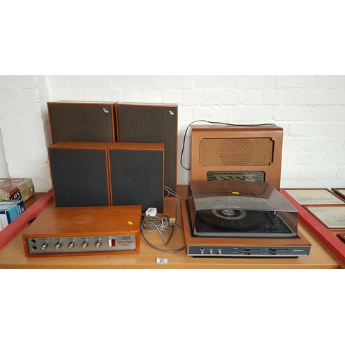 21 - Dansette A4005 turntable with speakers...