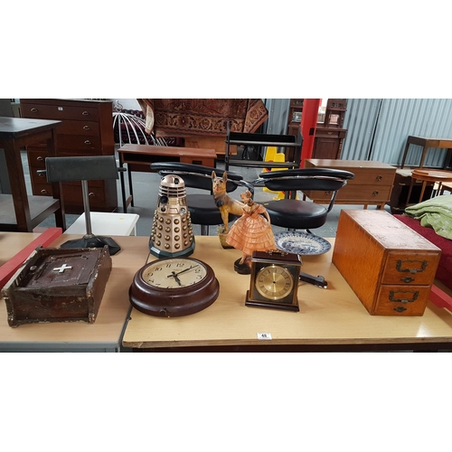 48 - Vintage lot to include Smiths clock , chalk figures, index box etc....