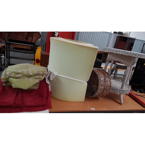 49 - Miscellaneous items including upholstery foam, curtains,wicker table,basket etc....