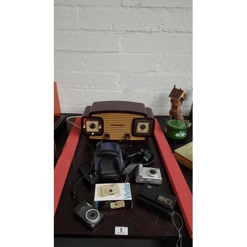 5 - Selection of cameras including Kodak Disc 6000 and a Erres radio...