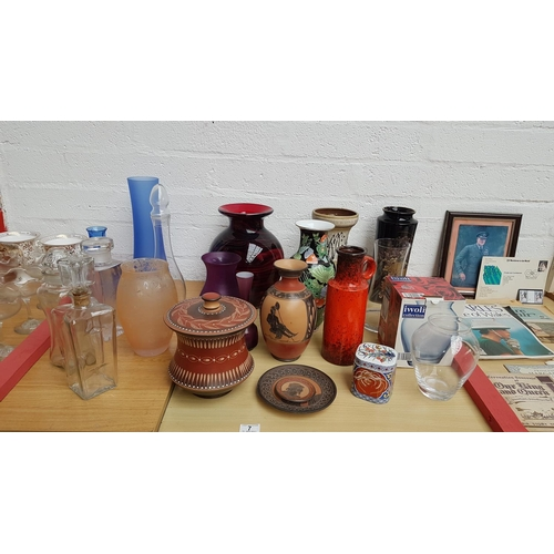 7 - Collection of vases and decanters including West German...