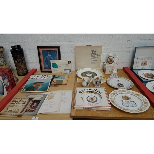 8 - Lot of commemorative ware including fine bone chain plates, newspaper clippings , souvenir programme...