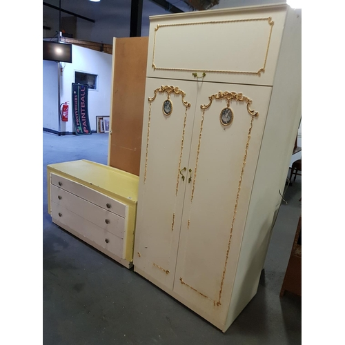 922 - Two door wardrobe and chest of drawers...