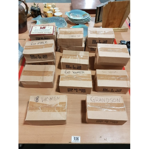 936 - 16 boxes of birthday plaques...