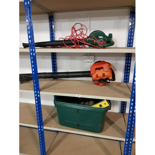 941 - Collection of tools and petrol leaf blowers - 3 shelves...